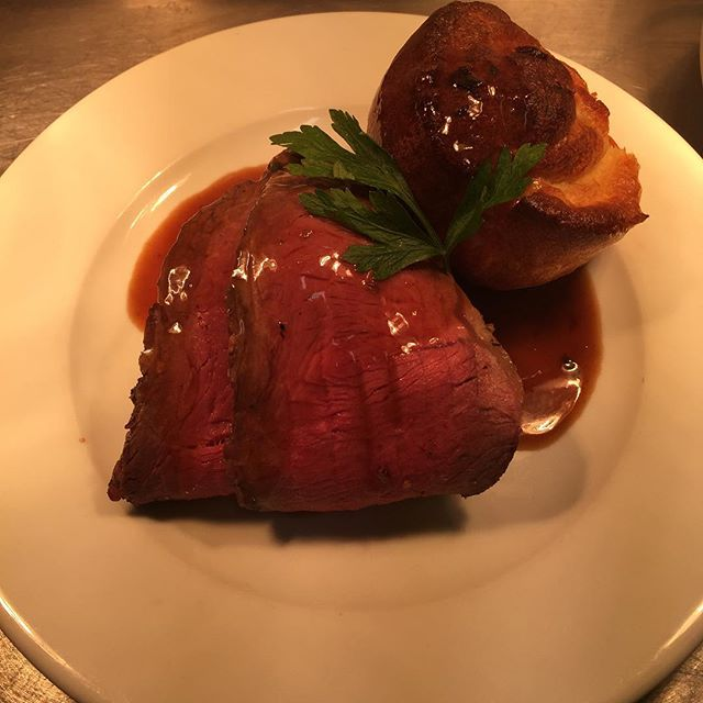 Rare Roast Sirloin of Beef with Yorkshire pudding