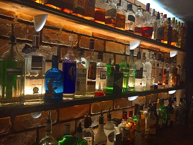 Spirit shelf #foxandvivian #leamingtonspa #whisky #gin #vodka #rum #brick #industrial #steakhouse