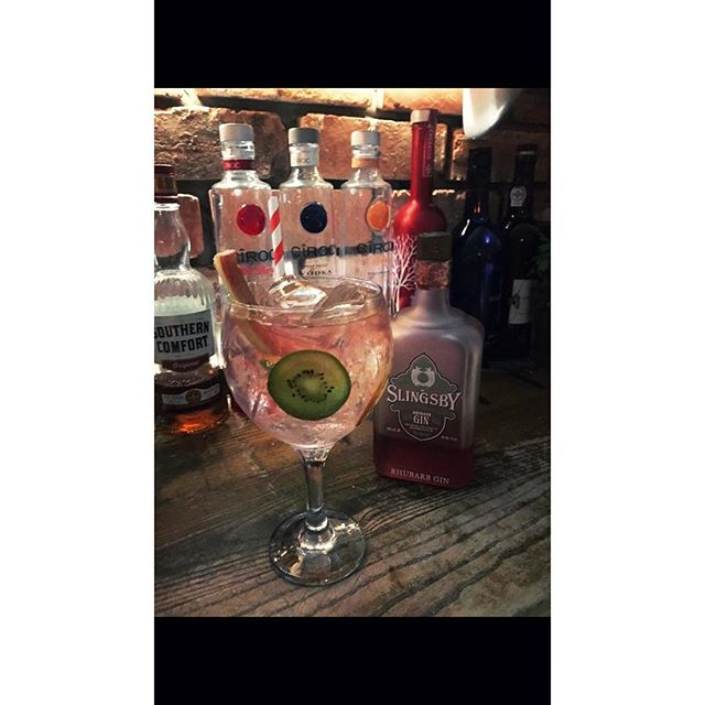 Slingsby gin with fresh rhubarb and kiwi