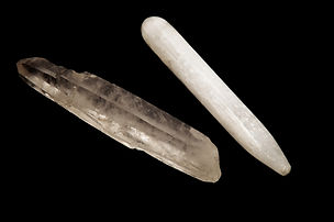 A quartz crystal wand  and white selenit