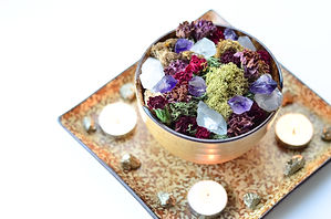 crystals and moss with dried flowers in