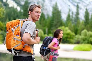 Hikers - people hiking, man looking at m