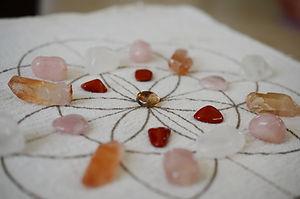 Crystal Grid, Rose Quartz, Tangerine Qua