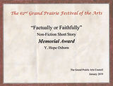 Factually or Faithfully 2019 Grand Prairie Festival of Arts memorial award for nonfiction essay