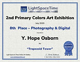 Light Space Time 2nd Primary Colors 8th place certificate for Trapezoid Tower