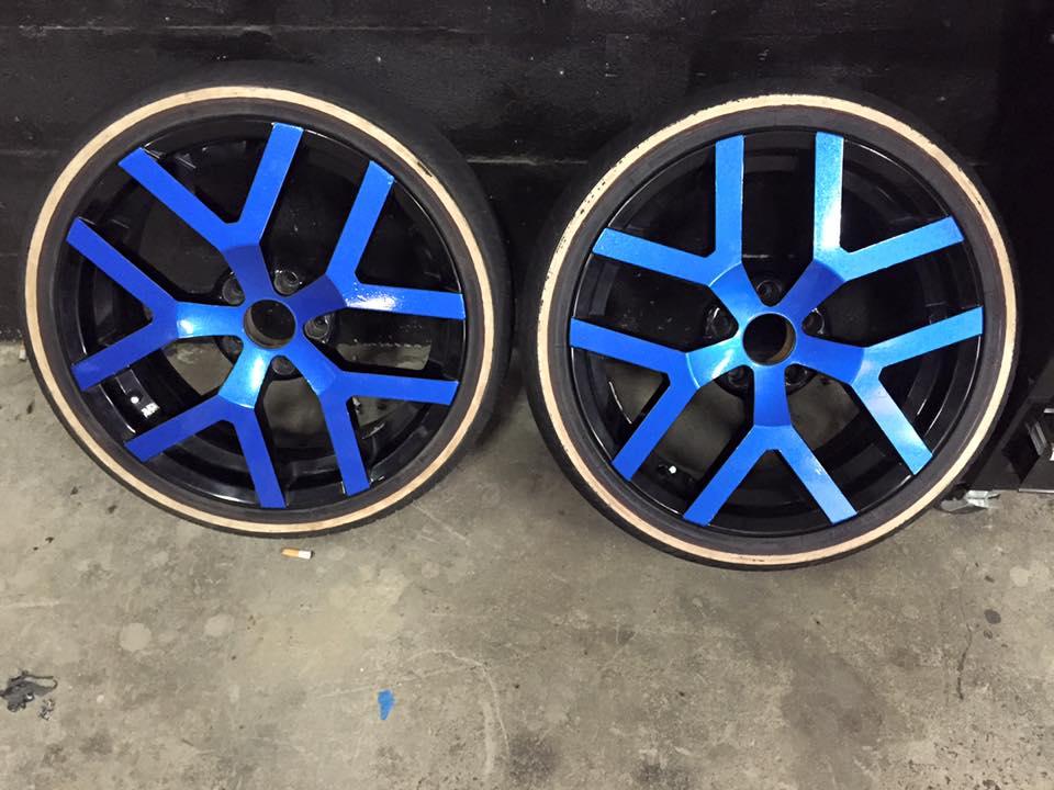 Blue wheels