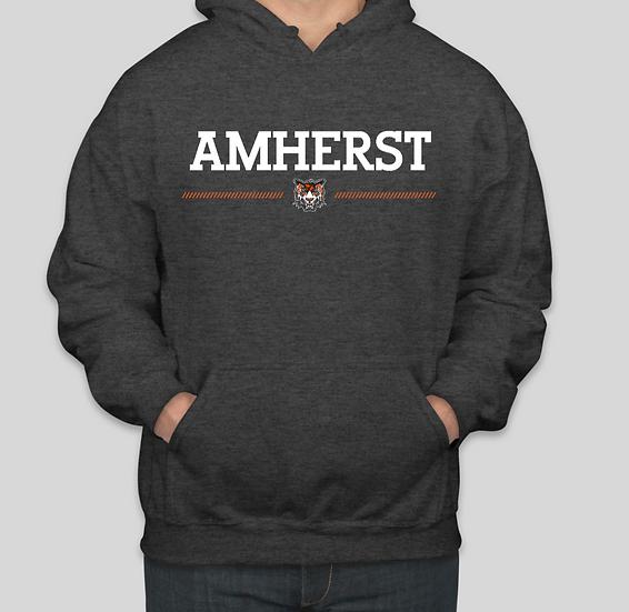 """Dark Hooded Sweatshirt - """"Amherst"""" logo"""