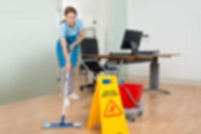 Female Janitor Cleaning Hardwood Floor I