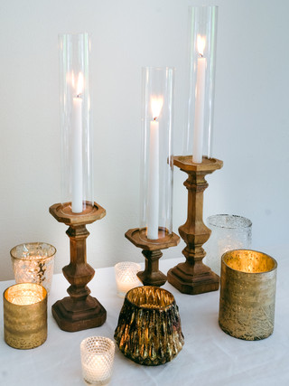 Wooden and Gold Candle Assortment- taper