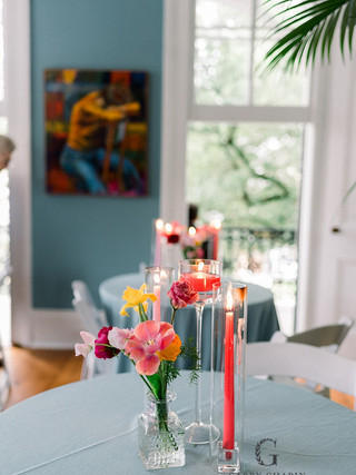 Colored tapers and floating candles