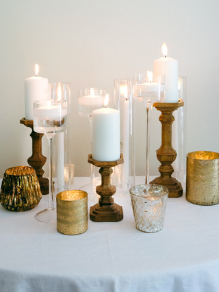 Wooden and Gold Candle Assortment- pillar