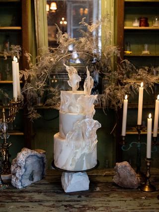 Vintage candelabras and cake display