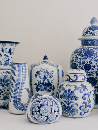 Blue and White Chinoiserie  Vase collection