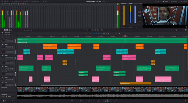 Davinci Resolve Fairlight Audio Mixing Page