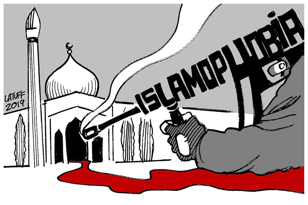 Islamphobia artwork smoking rifle outside Mosque Christchurch terror attack 2019
