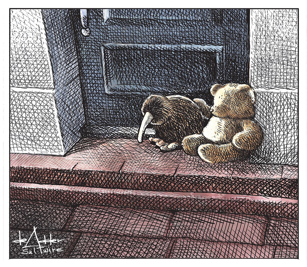 Bear and Kiwi plush toys sitting on doorstep Christchurch terror attack 2019