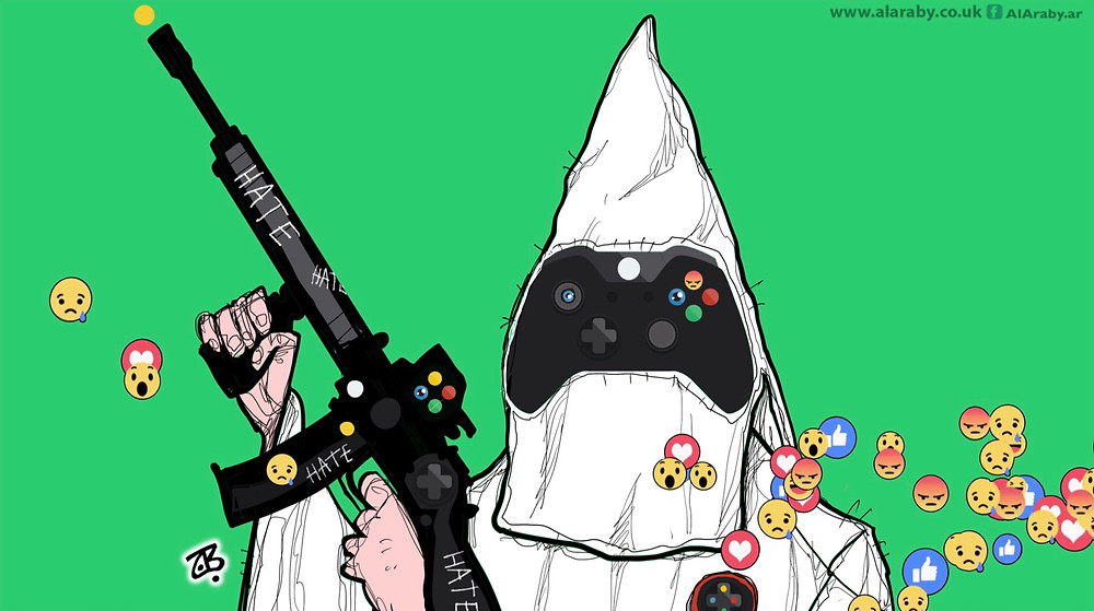 Artwork depicting Christchurch shooter in white Ku Klux Klan hood holding rifle with hate inscribed with gaming console controller and social media livestream icons superimposed