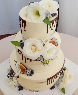 Semi Naked, Chocolate Drip With Fresh Florals and Fruit