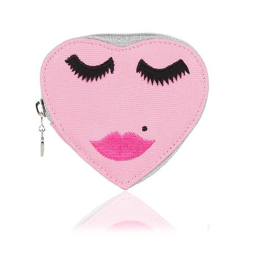 HEART SHAPED PINK FACE EMBROIDERED PURSE