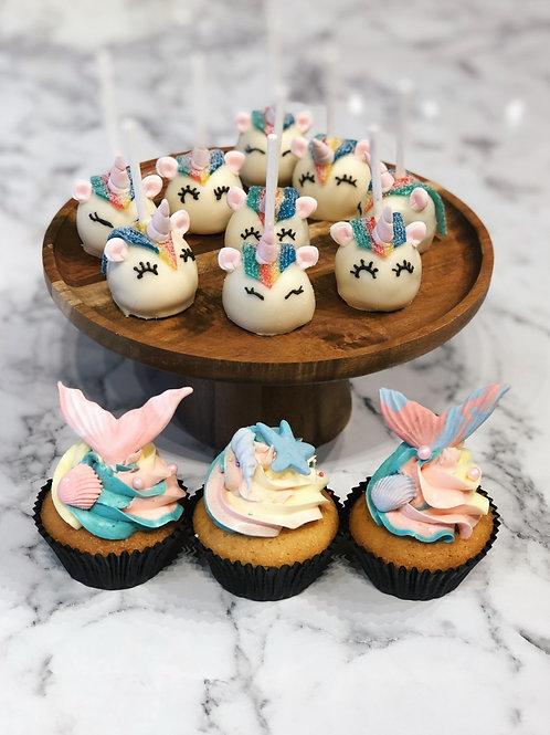 Unicorn Cakepops & Mermaid Swirl Cupcakes
