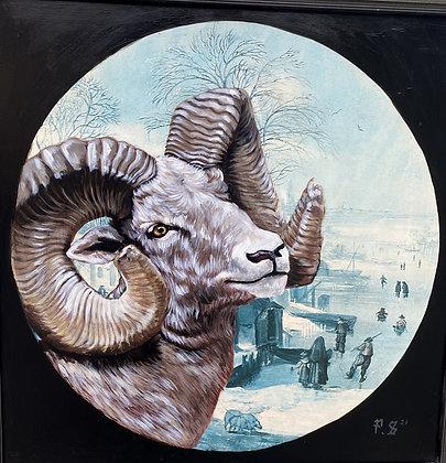 Ram on repurposed painting