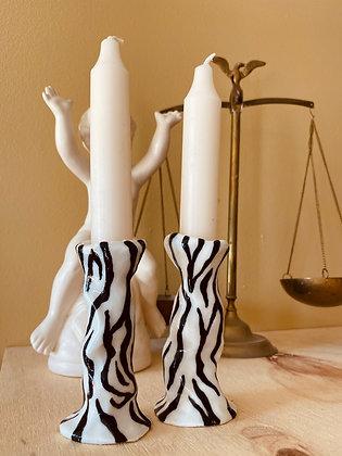 Zebra Stripe Candlesticks