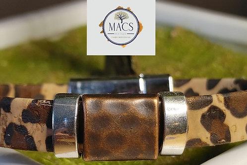 "Leopard cork bracelet 7.5"""