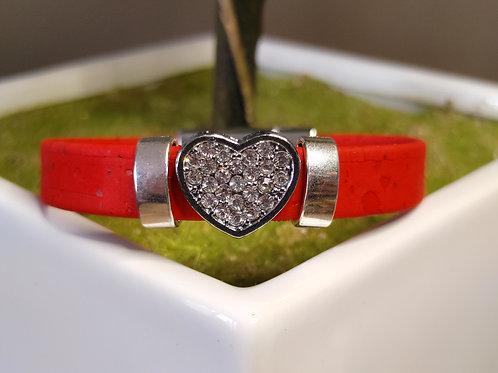 "Heart cork bracelet 7"""