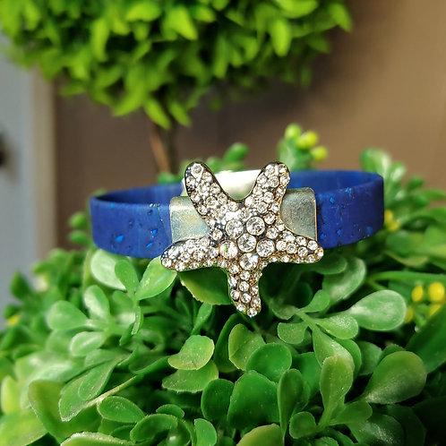 Starfish blue cork bracelet