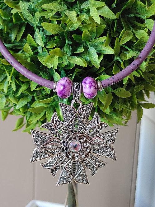 Purple cork necklace