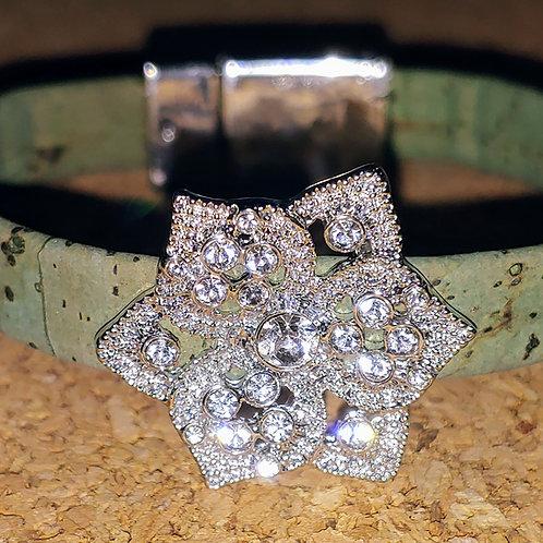 Green cork rhinestone flower bracelet