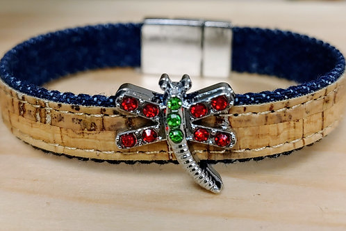 Dragonfly Bracelet/cork and denim