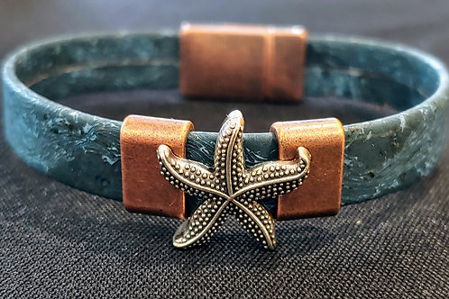 "Starfish cork bracelet 7"""