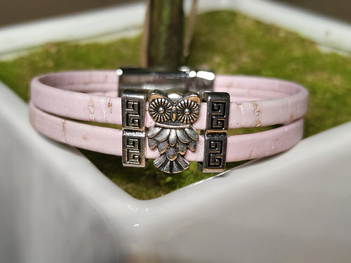 Pink cork owl bracelet