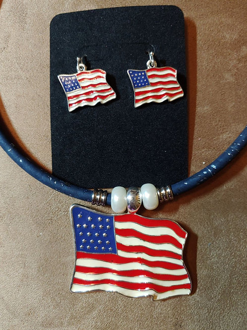 Flag Necklace and Earrings Set
