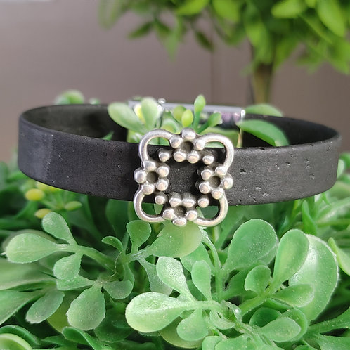 Black cork flower bracelet