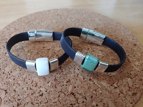 Black cork bracelet with ceramic bead