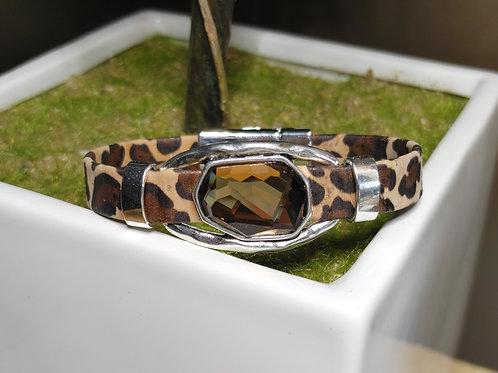 "Leopard Cork Bracelet 7"""