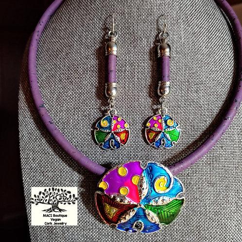 Purple cork necklace set