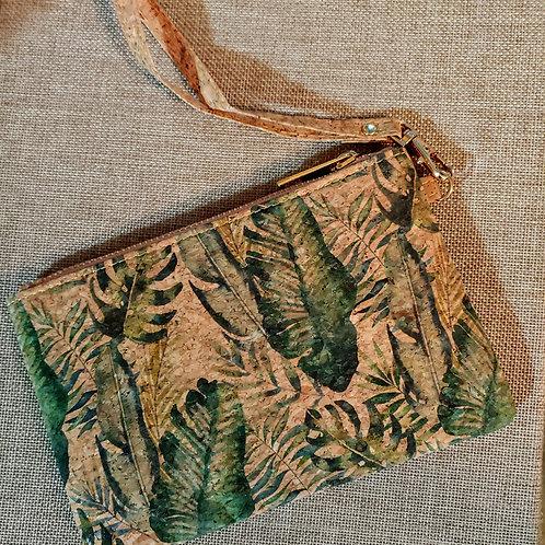 Cork leaf pattern wristlet
