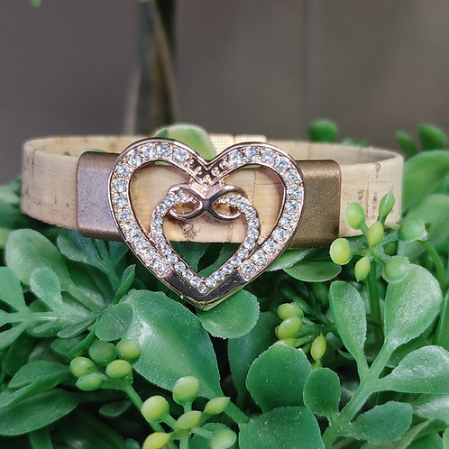 New infinity heart cork bracelet