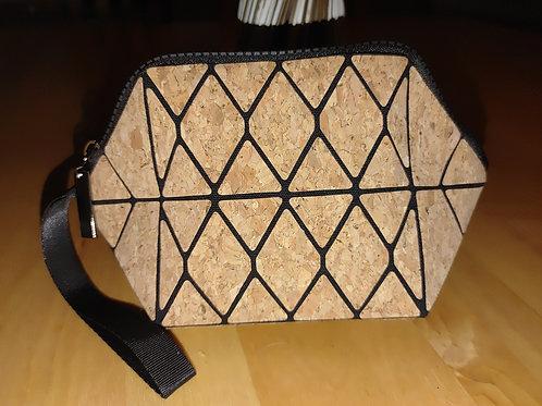 Cork wristlet/make up bag