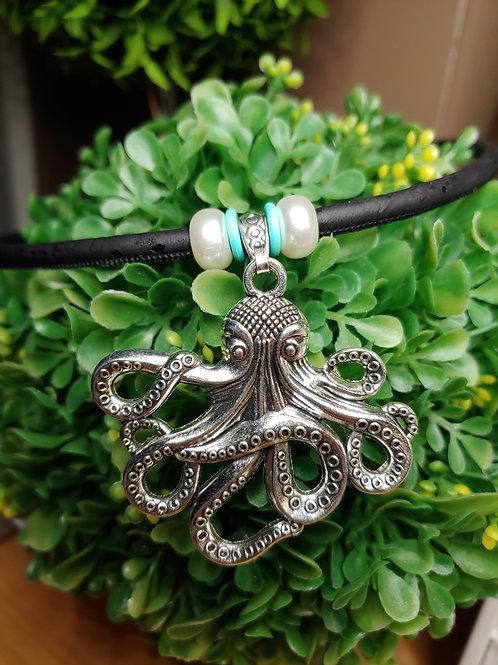 Octopus cork necklace