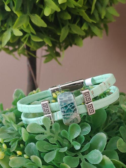 Mint green cork bracelet