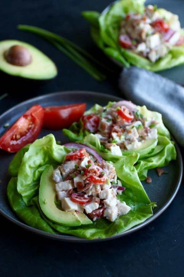 Photo of BLT Chicken Salad Lettuce Wraps