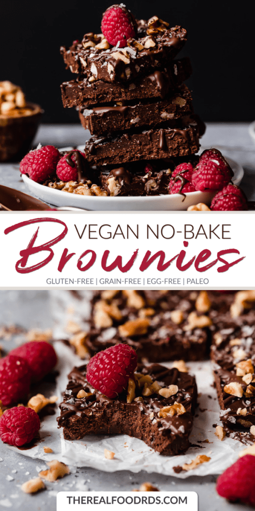 Long Pin Image for Vegan No-Bake Brownies