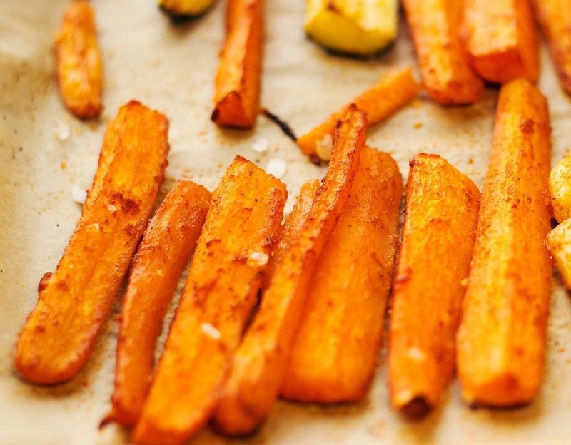 Homemade, oven baked carrots