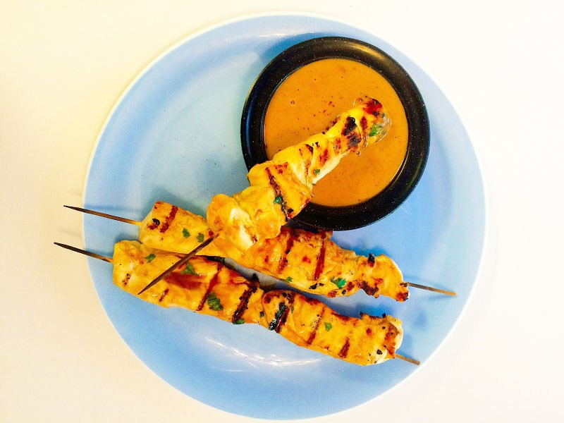 Chicken Kabobs with Peanut Dipping Sauce