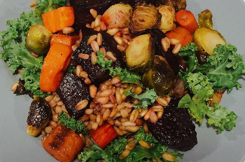 Farro roasted veggie salad