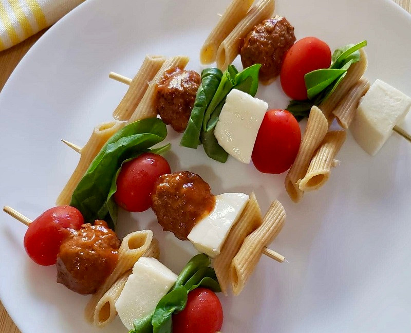 Pasta and Meatball Skewers